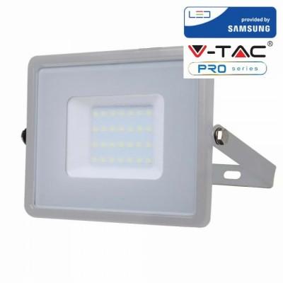 FARETTI LED 30W IP65 SAMSUNG SLIMLINE GRIGIO LUCE CALDA 3000K V TAC VT-30 454