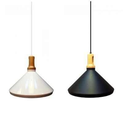 Lampadario a coppa campana pendente portalampada E27 metallo e legno V Tac VT-7535 3763/3764