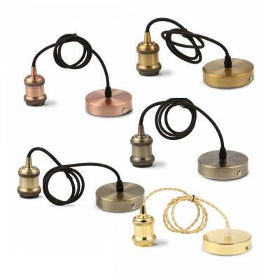 Lampadario a sospensione in metallo portalampada E27 bronzo oro ottone V-Tac VT-7555 3840/3841/3842/3843/3844