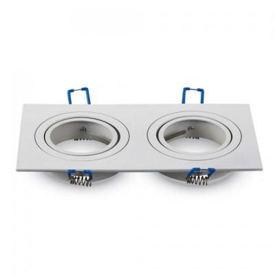 Portafaretto doppio incasso orientabile quadrato 2 posti alluminio Bianco GU10 GU5.3 MR16 V Tac VT-783SQ 3607