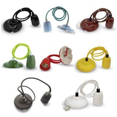 Portalampada ceramica lampadario pendente colorato E27 V-Tac VT-7998 3803/3804/3805/3806/3807/3808/3809/3810