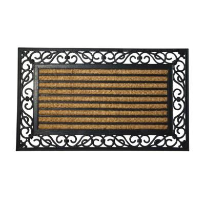 Zerbino tappeto fibra di cocco e gomma Righe Maurer 95037